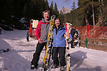 End of ski trail Belvedere to Canazei, Dolomites, Italy,
