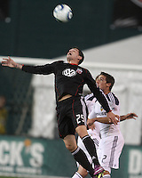 Santino Quaranta (25) of D.C. United leaps high over Todd Dunivant (2) of the Los Angeles Galaxy during an MLS match at RFK Stadium, on April 9 2011, in Washington D.C.The game ended in a 1-1 tie.
