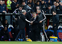 7th March 2020; Selhurst Park, London, England; English Premier League Football, Crystal Palace versus Watford; Crystal Palace Manager Roy Hodgson shakes hands with Watford Manager Nigel Pearson after full time