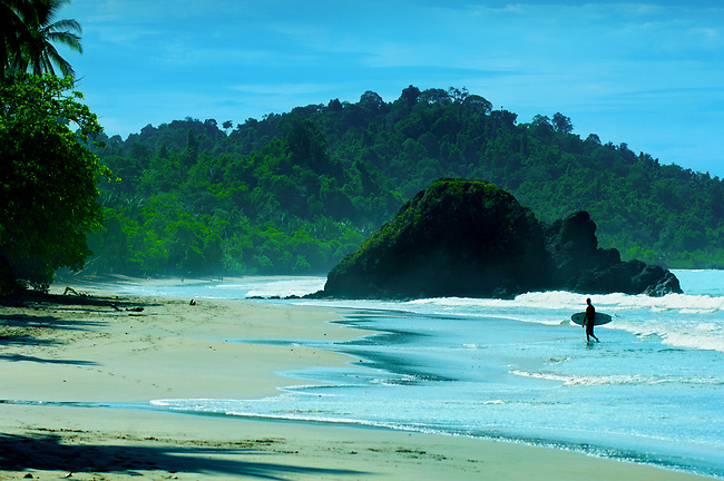 Costa Rica, Quepos, Manuel Antonio National Park, Beach, Rainforest, Pacific Ocean, Surfer