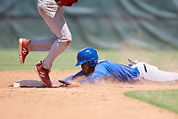 GCL Mets right fielder Edinson Valdez (3) slides into second base during a game against the GCL Cardinals on August 6, 2018 at Roger Dean Chevrolet Stadium in Jupiter, Florida.  GCL Cardinals defeated GCL Mets 6-3.  (Mike Janes/Four Seam Images)