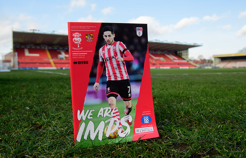 A close up of the Lincoln City match day magazine We Are Imps<br /> <br /> Photographer Chris Vaughan/CameraSport<br /> <br /> The EFL Sky Bet League Two - Lincoln City v Stevenage - Saturday 16th February 2019 - Sincil Bank - Lincoln<br /> <br /> World Copyright © 2019 CameraSport. All rights reserved. 43 Linden Ave. Countesthorpe. Leicester. England. LE8 5PG - Tel: +44 (0) 116 277 4147 - admin@camerasport.com - www.camerasport.com
