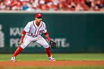 15 August 2017: Washington Nationals shortstop Wilmer Difo in action against the Los Angeles Angels at Nationals Park in Washington, DC. The Nationals defeated the Angels 3-1 in the first game of their 2-game series. Mandatory Credit: Ed Wolfstein Photo *** RAW (NEF) Image File Available ***