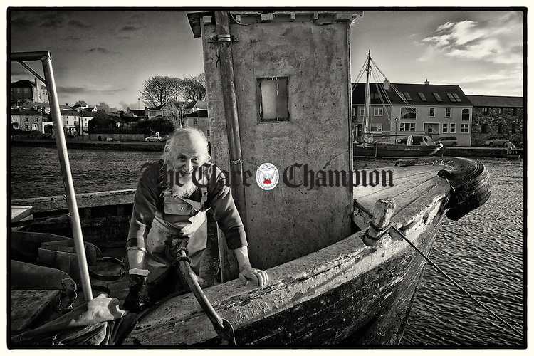 Local fisherman Rainer Krauser returns to Kinvarra following a day's work in Galway bay. Photograph by John Kelly.