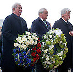 John Greig and Ian Bankier lay wreaths at the base of the memorial statue