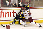 Connor Toomey (Merrimack - 25), Patrick Wey (BC - 6) - The visiting Merrimack College Warriors tied the Boston College Eagles at 2 on Sunday, January 8, 2011, at Kelley Rink/Conte Forum in Chestnut Hill, Massachusetts.