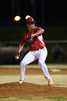 Lake Norman Copperheads relief pitcher Carson Lowder (35) (Western Carolina) in action against the Mooresville Spinners at Moor Park on July 6, 2020 in Mooresville, NC.  The Spinners defeated the Copperheads 3-2. (Brian Westerholt/Four Seam Images)