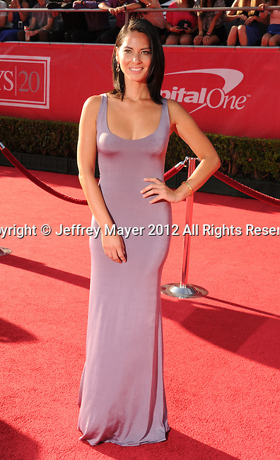 LOS ANGELES, CA - JULY 11: Olivia Munn arrives at the 2012 ESPY Awards at Nokia Theatre L.A. Live on July 11, 2012 in Los Angeles, California.