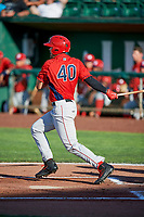 Brandon Marsh (40) of the Orem Owlz bats against the Ogden Raptors in Pioneer League action at Lindquist Field on June 21, 2017 in Ogden, Utah. The Owlz defeated the Raptors 16-5. This was Opening Night at home for the Raptors.  (Stephen Smith/Four Seam Images)