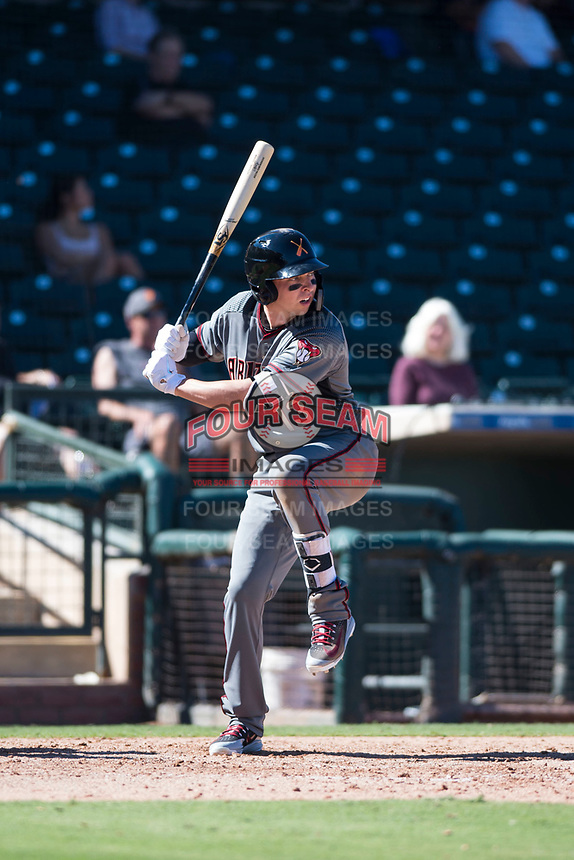 Salt River Rafters designated hitter Drew Ellis (13), of the Arizona Diamondbacks organization, at bat during an Arizona Fall League game against the Surprise Saguaros on October 9, 2018 at Surprise Stadium in Surprise, Arizona. The Rafters defeated the Saguaros 10-8. (Zachary Lucy/Four Seam Images)