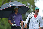 AUGUSTA, GA - APRIL 12: Phil Mickelson walks on the fairway with his caddie during the Second Round of the 2013 Masters Golf Tournament at Augusta National Golf Club on April 10in Augusta, Georgia. (Photo by Donald Miralle) *** Local Caption ***