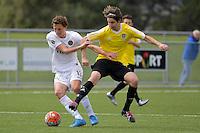 Phoenix&rsquo; Sam Sutton and Team Wellington&rsquo;s Joshua Rogerson in action during the National Youth League - Phoenix Youth v Team Wellington Youth at Petone Memorial Park, Lower Hutt, New Zealand on Saturday 29 October 2016.<br /> Photo by Masanori Udagawa. <br /> www.photowellington.photoshelter.com.