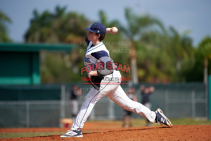Lasell Lasers pitcher Justin Webb (16) delivers a pitch during the first game of a doubleheader against the Edgewood Eagles on March 14, 2016 at Terry Park in Fort Myers, Florida.  Edgewood defeated Lasell 9-7.  (Mike Janes/Four Seam Images)