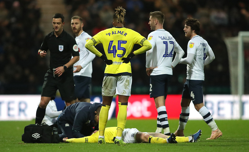 Blackburn Rovers' Harrison Reed is taken down in the second half<br /> <br /> Photographer Rachel Holborn/CameraSport<br /> <br /> The EFL Sky Bet Championship - Preston North End v Blackburn Rovers - Saturday 24th November 2018 - Deepdale Stadium - Preston<br /> <br /> World Copyright © 2018 CameraSport. All rights reserved. 43 Linden Ave. Countesthorpe. Leicester. England. LE8 5PG - Tel: +44 (0) 116 277 4147 - admin@camerasport.com - www.camerasport.com