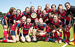 NIJMEGEN -   team Huizense   na   de tweede play-off wedstrijd dames, Nijmegen-Huizen (1-4), voor promotie naar de hoofdklasse.. Huizen promoveert naar de hoofdklasse.  COPYRIGHT KOEN SUYK