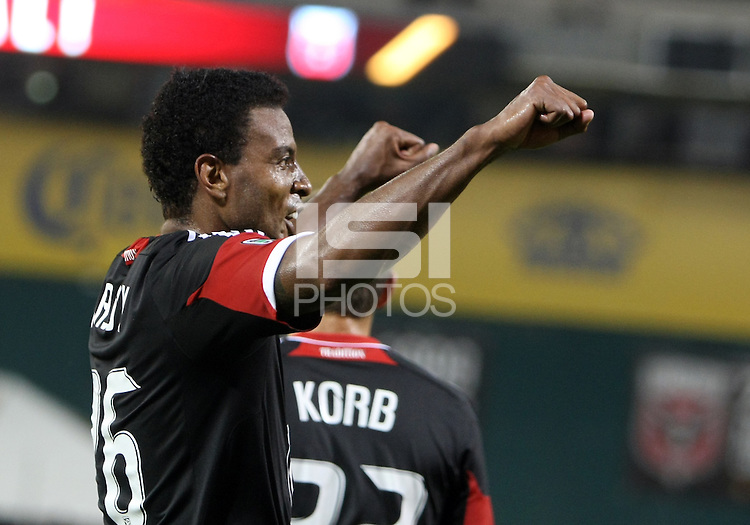 WASHINGTON, DC. - AUGUST 22, 2012:  Lionard Pajoy (26) of DC United after scoring against the Chicago Fire during an MLS match at RFK Stadium, in Washington DC,  on August 22. United won 4-2.