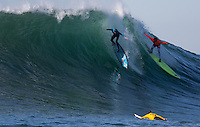 Half Moon Bay - Ca, Sunday, January 20, 2013: Grant Baker and Anthony Tashnick compete during the 2013 Mavericks Invitational..