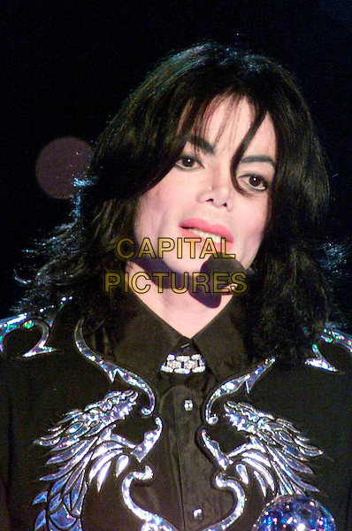 MICHAEL JACKSON.Michael Jackson dies at the age of 50 after suffering a heart attack on July 25th, 2009 .World Music Award 2000, Monte Carlo.headshot portrait singing black jacket gold stage live gig performance music silver dragons.CAP/PPG/WS.© Willi Schneider/People Picture/Capital Pictures