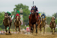 BALTIMORE, MD - MAY 20:  Recruiting Ready #7 ridden by Horacio Karamanos hits the wire first in the Chick Lang Stakes at Pimlico Race Course on May 20, 2017 in Baltimore, Maryland. (Photo by Alex Evers/Eclipse Sportswire/Getty Images)