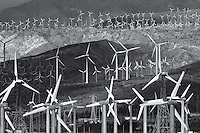 Wind turbines generating electricity on the San Gorgonio Pass Wind Farm serving Palm Springs, California.
