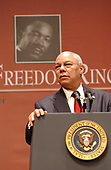 """Secretary of State Colin Powell makes remarks the 3rd Annual Georgetown University """"Let Freedom Ring"""" initiative  ceremonies and performance in honor of the memory of Doctor Martin Luther King Jr., held at the John F. Kennedy Center for the Performing Arts in Washington, D.C. on January 17, 2005. Powell and his wife, Alma Powell, received the """"John Thompson Legacy of a Dream Award"""" during the ceremonies. <br /> Credit: Greg E. Mathieson / Pool via CNP"""