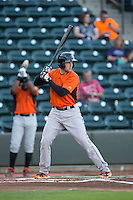 Wynston Sawyer (14) of the Frederick Keys at bat against the Winston-Salem Dash at BB&T Ballpark on May 24, 2016 in Winston-Salem, North Carolina.  The Keys defeated the Dash 7-1.  (Brian Westerholt/Four Seam Images)