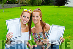 Twins Laura and Sarah Murphy celebrate receiving their Leaving Cert results in the Killarney Community College on Wednesday