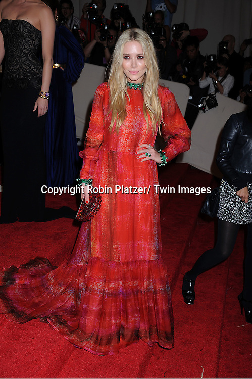 """Mary-Kate Olsen in Givenchy arriving at The Costume Institute Gala Benefit celebriting """"Alexander McQueen: Savage Beauty"""" at The Metropolitan Museum of Art in New York City on May 2, 2011."""