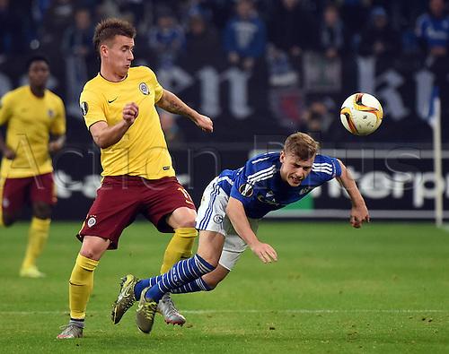 22.10.2015. Gelsenkirchen, Germany. UEFA Europa League football. FC Schalke versus Sparta Prague.  Lukas Marecek (Sparta Prag), Max Meyer (FC Schalke 04)