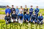 Contestants at the Kerry Puc Fada in Ballyheigue on Monday. Kneeling l to r: Julianne O'Keeffe (Clanmaurice), Gearoid Quilter (Causeway), Garry Lynch (Tralee Parnells), Martin Stackpool (Lixnaw), Tadhg Flynn (Causeway)and Saoirse Maloney (Causeway).<br /> Standing l to r: Keltyn Molloy (From Lixnaw, winner of the U16), Daniel O'Loughlin (Ballyheigue), Chris Lawlor (St Brendans), Kian Hickey (Crotta O'Neills), Sean Holden and Peter Hinchcliffe (Abbeydorney) and Robin Porter