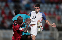 Couva, Trinidad & Tobago - Tuesday Oct. 10, 2017: Christian Pulisic during a 2018 FIFA World Cup Qualifier between the men's national teams of the United States (USA) and Trinidad & Tobago (TRI) at Ato Boldon Stadium.