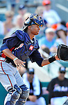 13 March 2012: Atlanta Braves catcher Christian Bethancourt in action during a Spring Training game against the Miami Marlins at Roger Dean Stadium in Jupiter, Florida. The two teams battled to a 2-2 tie playing 10 innings of Grapefruit League action. Mandatory Credit: Ed Wolfstein Photo