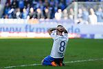 Philip T&uuml;rpitz (Magdeburg, 8) entt&auml;uscht, schaut entt&auml;uscht, niedergeschlagen, disappointed nach vergebener Chance zum 1:0 beim Spiel in der 3. Liga, 1. FC Magdeburg - Karlsruher SC.<br /> <br /> Foto &copy; PIX-Sportfotos *** Foto ist honorarpflichtig! *** Auf Anfrage in hoeherer Qualitaet/Aufloesung. Belegexemplar erbeten. Veroeffentlichung ausschliesslich fuer journalistisch-publizistische Zwecke. For editorial use only.