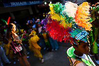 A Brazilian boy, wearing a colorful costume, takes part in the Carnival parade in the favela of Rocinha, Rio de Janeiro, Brazil, 20 February 2012. Rocinha, the largest shanty town in Brazil and one of the most developed in Latin America, has its own samba school called GRES Academicos da Rocinha. The Rocinha samba school is very loyal to its neighborhood. Throughout the year, the entire community actively participate in rehearsals, culture events and parades related to the carnival.