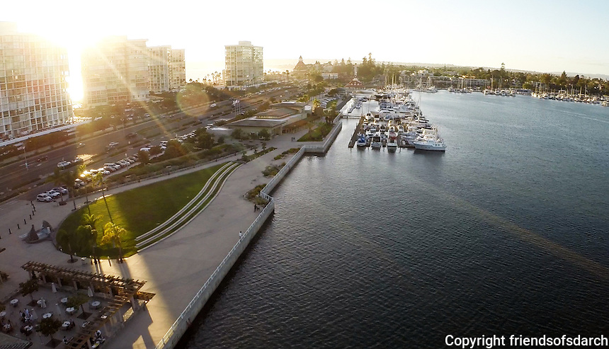 Aerial View of Coronado City Hall and Community Center. Glorietta Bay. Patricia Trauth, Landscape Architect. Aerial by Grijalva Films.