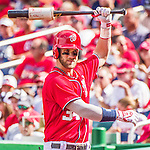28 September 2014: Washington Nationals outfielder Bryce Harper warms up on deck in the second inning against the Miami Marlins at Nationals Park in Washington, DC. The Nationals shut out the Marlins 1-0, caping the season with the first Nationals no-hitter in modern times. The win also notched a 96 win season for the Nats: the best record in the National League. Mandatory Credit: Ed Wolfstein Photo *** RAW (NEF) Image File Available ***