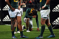 The Springboks absorb the effects of the 57-0 defeat during the Rugby Championship match between the New Zealand All Blacks and South Africa Springboks at QBE Stadium in Albany, Auckland, New Zealand on Saturday, 16 September 2017. Photo: Shane Wenzlick / lintottphoto.co.nz