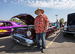 Richard Fripp with his 1957 Olds 88 J2 during the Hot August Nights Pre-Kickoff Party at the Bonanza Casino in Reno, Nevada on Sunday, August 6, 2017.