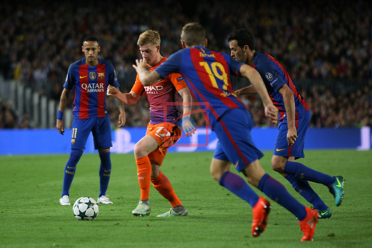 UEFA Champions League 2016/2017 - Matchday 3.<br /> FC Barcelona vs Manchester City FC: 4-0.<br /> Neymar, Kevin De Bruyne, Lucas Digne &amp; Sergio Busquets.