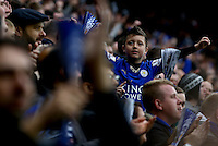 A young Leicester City fan celebrates the second goal during the Barclays Premier League match between Leicester City and Swansea City played at The King Power Stadium, Leicester on 24th April 2016