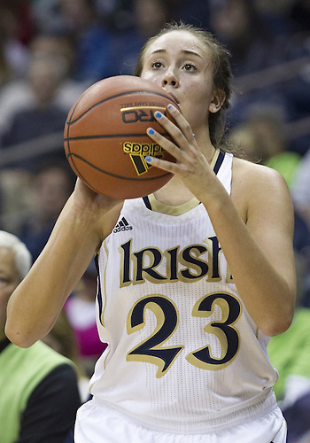 November 20, 2012:  Notre Dame guard Michaela Mabrey (23) sets to shoot the ball during NCAA Women's Basketball game action between the Notre Dame Fighting Irish and the Mercer Bears at Purcell Pavilion at the Joyce Center in South Bend, Indiana.  Notre Dame defeated Mercer 93-36.