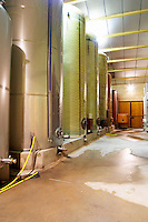 Domaine d'Antugnac. Limoux. Languedoc. Stainless steel fermentation and storage tanks. France. Europe.