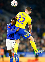 4th March 2020; King Power Stadium, Leicester, Midlands, England; English FA Cup Football, Leicester City versus Birmingham City; Harlee Dean of Birmingham City jumps clear of Wilfred Ndidi of Leicester City