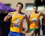 SIOUX FALLS, SD - MAY 2:  Marc Husman from South Dakota State University leads xxxxxx from North Dakota State University in the final turn of the Men's 400 meter dash Friday afternoon at the 2014 Howard Wood Dakota Relays. (Photo by Dave Eggen/Inertia)