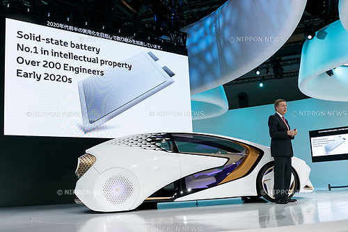 Toyota Motor Corp. Executive Vice President Didier Leroy presents the Toyota Concept-i autonomous vehicle during a press briefing for the 45th Tokyo Motor Show 2017 in Tokyo Big Sight on October 25, 2017, Tokyo, Japan. Tokyo Motor Show 2017 will showcase new mobility solutions from over 153 Japanese and overseas automakers. The exhibition is open to the public from October 26 to November 5. (Photo by Rodrigo Reyes Marin/AFLO)