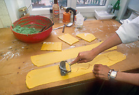 - Italian food , typical kitchen of the Emilia region, preparation of calzoncelli ( stuffed pasta )<br /> <br /> - Cibo italiano, cucina tipica della regione Emilia, preparazione dei calzoncelli