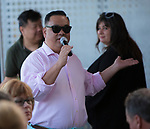 """RGJ Media Food and Drink Editor Johnathan L. Wright speaks during the """"Reno Taste"""" launch party  Tuesday, June 13, 2017 on the terrace of Campo Reno."""