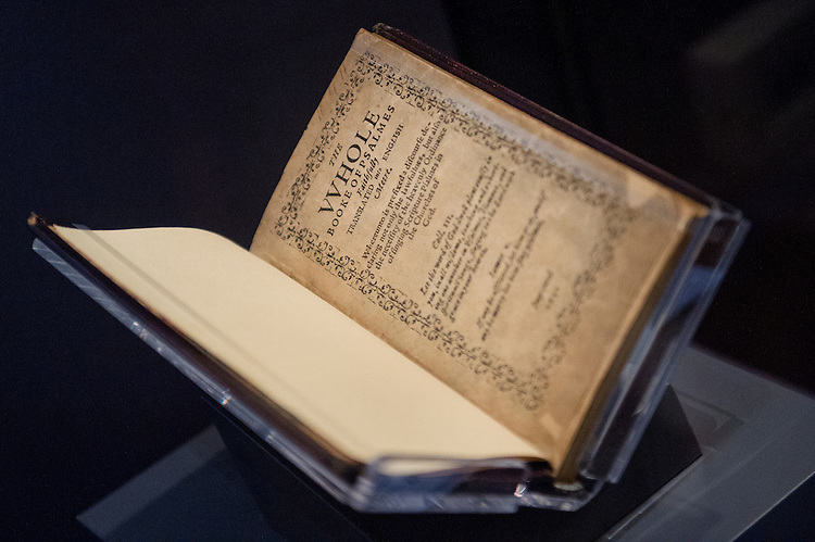 UNITED STATES - AUGUST 3: A printing of the Bay Psalm Book owned by David Rubenstein is on display at the Library of Congress Jefferson Building, August 3, 2015. (Photo By Tom Williams/CQ Roll Call)