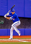 26 March 2018: Toronto Blue Jays shortstop Aledmys Diaz at bat during an exhibition game against the St. Louis Cardinals at Olympic Stadium in Montreal, Quebec, Canada. The Cardinals defeated the Blue Jays 5-3 in the first of two MLB pre-season games in the former home of the Montreal Expos. Mandatory Credit: Ed Wolfstein Photo *** RAW (NEF) Image File Available ***