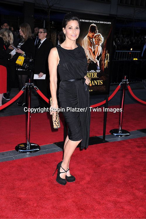 """Gina Gershon attending The Premiere of """"Water For Elephants"""" on    April 17, 2011 at The Ziegfeld Theatre in New York City. The stars of the movie are Reese Witherspoon, Robert Pattinson, Christoph Waltz and Hall Holbrook."""